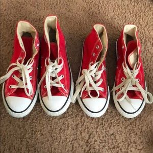 Red and white converse IN GREAT CONDITION $30 EACH